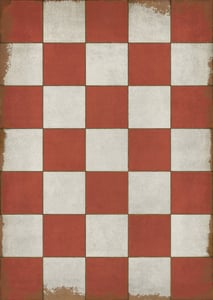 Muted Red, Antiqued Ivory - Checked Out Classic Vintage Vinyl Pattern 07 Geometric Area Rugs