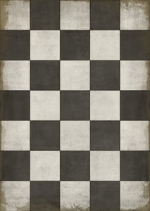 Distressed Black, Brown, Ivory - Checkered Past Classic Vintage Vinyl Pattern 07 Geometric Area Rugs