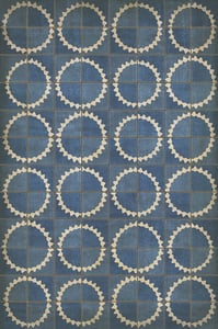 Muted Blue and Ivory - Empty Spaces Between Stars Classic Vintage Vinyl Pattern 46 Contemporary / Modern Area Rugs