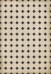 Cream, Distressed Black - Adams Williamsburg Vintage Vinyl Octagons Geometric Area Rugs