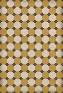 Gold, Cream, Distressed Black - Jefferson Williamsburg Vintage Vinyl Octagons Geometric Area Rugs
