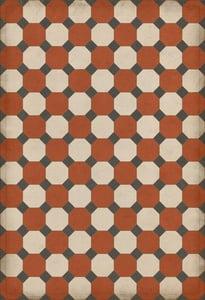 Red, Cream, Distressed Black - Lee Williamsburg Vintage Vinyl Octagons Geometric Area Rugs