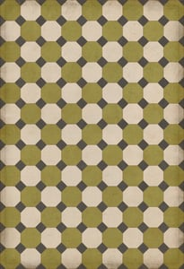 Green, Cream, Distressed Black - Sherman Williamsburg Vintage Vinyl Octagons Geometric Area Rugs