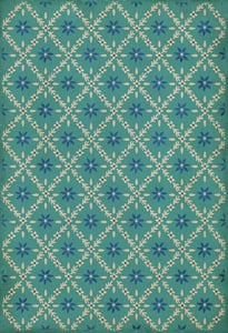 Blue, Cream - Bartram Williamsburg Vintage Vinyl Naturalist Floral / Botanical Area Rugs