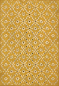 Yellow, Cream - Byrd Williamsburg Vintage Vinyl Naturalist Floral / Botanical Area Rugs