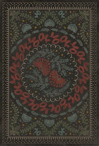 Antiqued Brown, Red, Blue - Down in a Leafy Dell Williamsburg Vintage Vinyl Cozens Contemporary / Modern Area Rugs