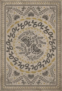 Cream, Distressed Black, Gold - Early One Morning Williamsburg Vintage Vinyl Cozens Contemporary / Modern Area Rugs