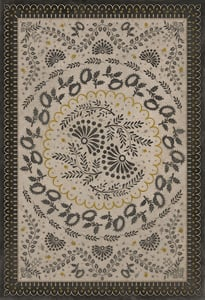 Cream, Gold, Distressed Black - Lilly Dale Williamsburg Vintage Vinyl Cozens Contemporary / Modern Area Rugs