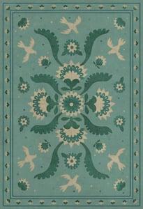 Blue, Green, Cream - Barred Clouds Bloom Williamsburg Vintage Vinyl Applique Floral / Botanical Area Rugs
