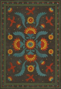 Distressed Blue, Red, Yellow - Gossip of Swallows Williamsburg Vintage Vinyl Applique Floral / Botanical Area Rugs