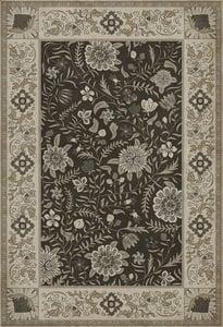 Distressed Black, Cream, Distressed Grey - Agra Williamsburg Vintage Vinyl Indian Quilt Floral / Botanical Area Rugs