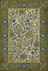 Green, Yellow, Blue - Bombay Williamsburg Vintage Vinyl Indian Quilt Floral / Botanical Area Rugs