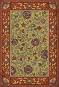 Red, Yellow - Calcutta Williamsburg Vintage Vinyl Indian Quilt Floral / Botanical Area Rugs