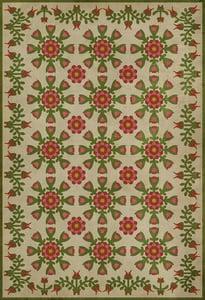 Cream, Green, Red - Amandas Fable Williamsburg Vintage Vinyl Needlework Floral / Botanical Area Rugs