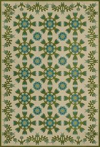 Cream, Green, Blue - Elizas Embroidery Williamsburg Vintage Vinyl Needlework Floral / Botanical Area Rugs