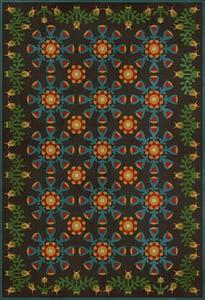 Blue, Green - Ellens Embellishments Williamsburg Vintage Vinyl Needlework Floral / Botanical Area Rugs