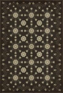 Distressed Black, Cream - Lucy and the Loom Williamsburg Vintage Vinyl Needlework Floral / Botanical Area Rugs