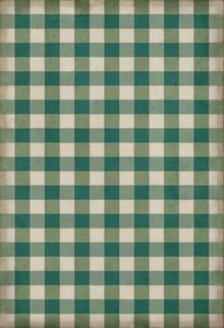 Green, Cream Williamsburg Vintage Vinyl Gingham Canvas Country Area Rugs