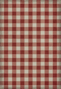 Red, Cream Williamsburg Vintage Vinyl Gingham Canvas Country Area Rugs