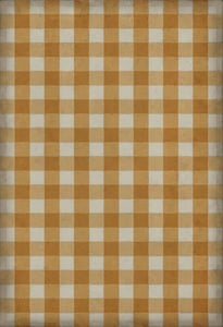 Yellow, Cream Williamsburg Vintage Vinyl Gingham Canvas Country Area Rugs