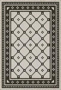 Ivory, Distressed Black - Allerton Avenue Mosaic Vintage Vinyl Design A Geometric Area Rugs