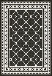 Distressed Black, Ivory - Elmhurst Avenue Mosaic Vintage Vinyl Design A Geometric Area Rugs