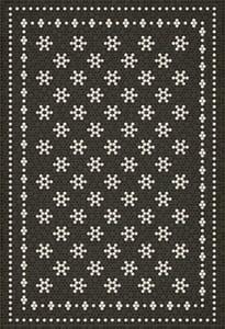 Distressed Black, Ivory - Belmont Park Mosaic Vintage Vinyl Design B Contemporary / Modern Area Rugs