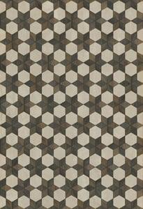 Cream, Brown, Distressed Black - Battlestar Artisanry Vintage Vinyl Illuminated Geometric Area Rugs