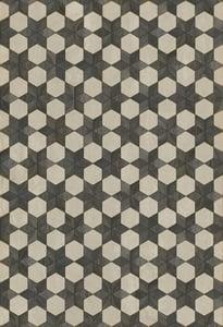Cream, Distressed Black - Black Star Artisanry Vintage Vinyl Illuminated Geometric Area Rugs