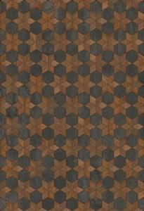 Antiqued Brown, Distressed Black - Dark Star Artisanry Vintage Vinyl Illuminated Geometric Area Rugs