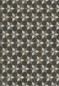 Distressed Black, Grey - Highway Star Artisanry Vintage Vinyl Illuminated Geometric Area Rugs