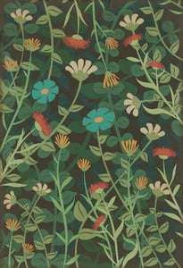 Distressed Green - Dance of the Flowers Classic Vintage Vinyl Pattern 73 Floral / Botanical Area Rugs