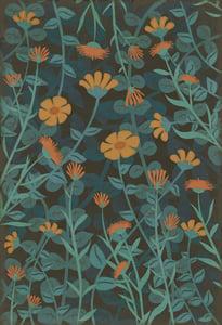 Distressed Blue, Orange - Doodlebug Classic Vintage Vinyl Pattern 73 Floral / Botanical Area Rugs