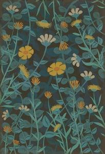 Blue, Gold, Cream - Knee Deep in Flowers Classic Vintage Vinyl Pattern 73 Floral / Botanical Area Rugs