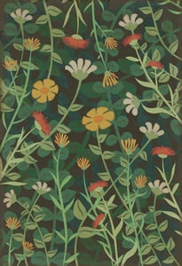 Distressed Green - Land of the Fae Classic Vintage Vinyl Pattern 73 Floral / Botanical Area Rugs