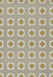 Distressed Grey, Cream, Yellow - Be Bop a Lula Classic Vintage Vinyl Pattern 78 Floral / Botanical Area Rugs