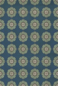 Blue, Cream - Doris Day Classic Vintage Vinyl Pattern 78 Floral / Botanical Area Rugs