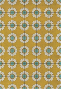 Gold, Cream, Blue - Happy Days Classic Vintage Vinyl Pattern 78 Floral / Botanical Area Rugs