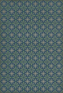 Distressed Blue, Green, Cream - Blue Moon Drive In Classic Vintage Vinyl Pattern 81 Contemporary / Modern Area Rugs