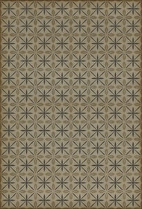 Cream, Distressed Grey - Dining Car Classic Vintage Vinyl Pattern 81 Contemporary / Modern Area Rugs