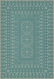 Blue, Beige - A Rain of Melody Folk Art Museum Vintage Vinyl Embroidery Contemporary / Modern Area Rugs