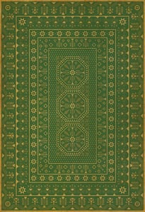 Green, Yellow - Dreams of Thee Folk Art Museum Vintage Vinyl Embroidery Contemporary / Modern Area Rugs