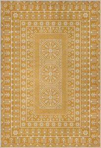 Yellow, Beige - Noonday Dreams Folk Art Museum Vintage Vinyl Embroidery Contemporary / Modern Area Rugs