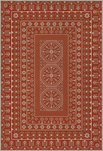 Red, Beige - The Sanguine Sunrise Folk Art Museum Vintage Vinyl Embroidery Contemporary / Modern Area Rugs