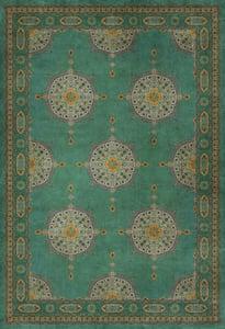 Distressed Turquoise - Avesta Persian Bazaar Vintage Vinyl Tabriz Bohemian Area Rugs