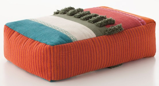 Orange, Red, Blue (Colours) Glaoui Pouf Alexandra Moroccan Poufs