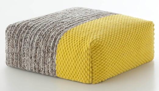 Yellow Mangas Pouf Plait Contemporary / Modern Poufs