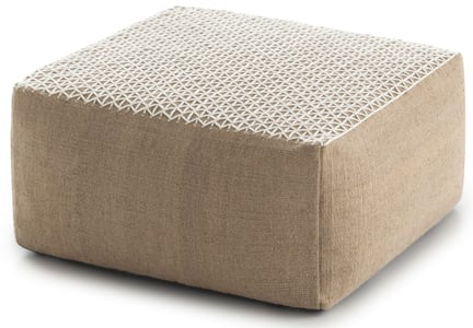 White Raw Pouf Hand Loomed Contemporary / Modern Poufs
