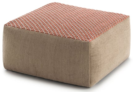 Pink Raw Pouf Hand Loomed Contemporary / Modern Poufs