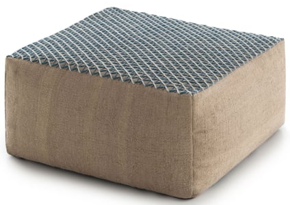 Blue Raw Pouf Hand Loomed Contemporary / Modern Poufs